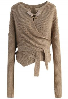 Knit Your Zeal Wrapped Top in Light Tan ...