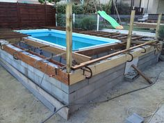 Image Above Ground Pool Decks, Above Ground Swimming Pools, In Ground Pools, Swimming Pools Backyard, Swimming Pool Designs, Outdoor Pool Furniture, Piscina Intex, Intex Pool, Backyard Pool Designs