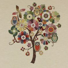 Tapestry Owl Tree - Cotton - Polyester - Polyacrylic - natural