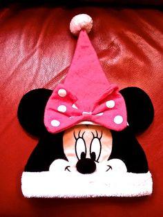 Disney TM Minnie Mouse Ears Pink Hat Santa Mickey Mouse Face Pom Pom Christmas