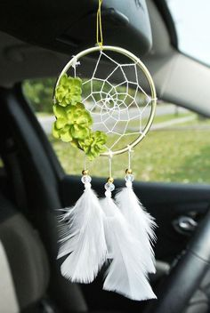 Rear View Mirror Accessories, Car Accessories For Women, Dream Catcher For Car, Dream Catchers, Los Dreamcatchers, Dream Catcher Necklace, Girly Car, Faux Succulents, Valentines Gifts For Her