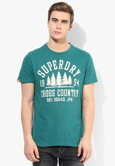 fd9574f3 Buy Superdry Green Printed Round Neck T-Shirt Online - 3092140 - Jabong