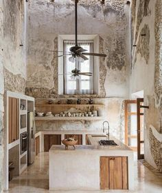 Modern kitchen preserves the historic feel of this century Hacienda located on the Mexican Yucatán Peninsula. × - Modern kitchen preserves the historic feel of this century Hacienda located on the Mexican Yuc - Home Decor Trends, House Design, Interior Design Kitchen, Rustic House, Rustic Kitchen Design, House Interior, Kitchen Interior, Trending Decor, Rustic Kitchen