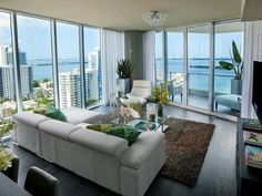 Biscayne Bay views informed the apartment's color palette as well as accessory selection.