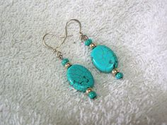 EarringsDangle Turquoise Howlite Gemstones by gagirljewelryandgift, $6.50