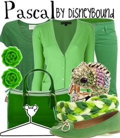 A gorgous Pascal disneybound outfit!  Love the earrings, ring and braided green bracelet!