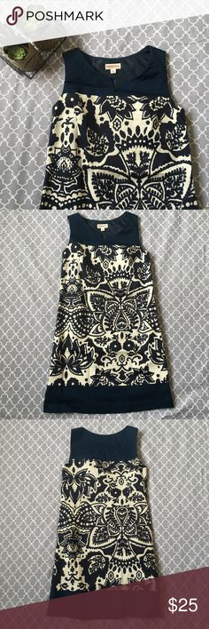 Hampton Dress Merona Collection Merona Collection from Target, Hampton dress in navy blue and white, beautiful floral pattern on body, side zipper, fully lined, sleeveless and V neck.  *NWT* Merona Dresses