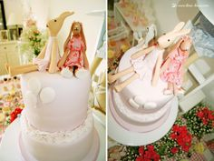 The bautiful cake  for this Maileg rabbit themed party