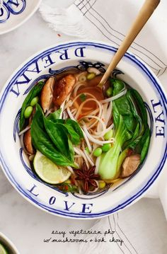 Easy Vegetarian Pho - a simple take on the classic Vietnamese noodle soup. Vegan and Gluten Free.