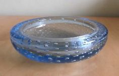 Rare Whitefriars Blue Bubble Heavy Glass Bowl