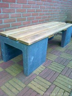 Use our concrete elements with some garden wood to create sturdy garden seats.
