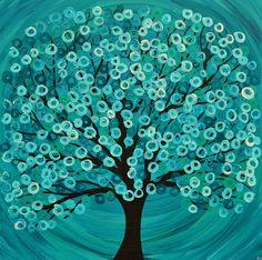 Square Turquoise Abstract Tree Painting - Original Acrylic Painting on Canvas Abstract Tree Painting, Acrylic Painting Canvas, Canvas Art, Abstract Trees, Acrylic Art, Images Noêl Vintages, Button Art, Art Portfolio, Art Plastique
