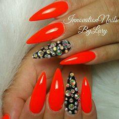Red claws with bling!!
