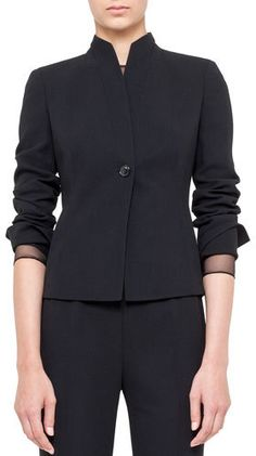 Akris One-Button Jacket with Mandarin Collar - $3,290.00