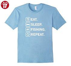 Men's Funny Eat Sleep Fishing Repeat T-Shirt Medium Baby Blue (*Amazon Partner-Link)