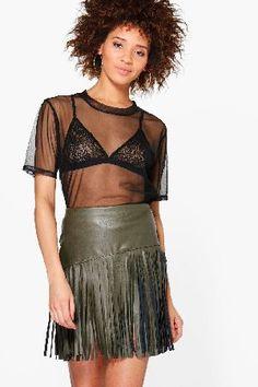 #boohoo Leather Look Tassle Mini Skirt - khaki DZZ55233 #Arianna Leather Look Tassle Mini Skirt - khaki