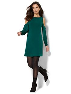 Shop Cold-Shoulder Shift Dress. Find your perfect size online at the best price at New York & Company.
