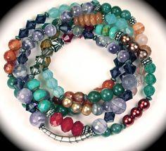 Sterling, amethyst, turquoise, pearl, vintage...5 beaded bracelets.