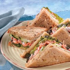 Here's a tasty and inventive way to get more salmon into your diet. These sandwiches take only 10 minutes to make...they use canned salmon in a tasty dressing, served on whole wheat bread. Give them a try...they're delicious.