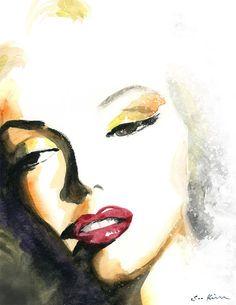 Fashion Illustration Sketches, Drawing Sketches, Illustration Art, Art Illustrations, Watercolor Portraits, Watercolor Print, Watercolor Paintings, Art Marilyn Monroe, Beautiful Drawings