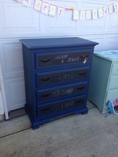 AS Napoleonic blue with dark wax. Chalkboard drawers.