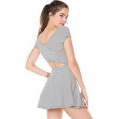 Brandy Melville Striped Skater Skirt Crisscross back detail. Brandy Melville Dresses Mini