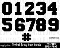 football Jersey number svg, jersey template svg, numbers svg, football svg, cutting file, soccer svg Jersey Font, High School Class Reunion, Royal Icing Templates, Volleyball, Soccer, School Jersey, Number Templates, T Shirt Printing Company, Cricut Fonts