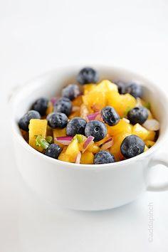 Blueberry Peach Salsa Recipe from addapinch.com