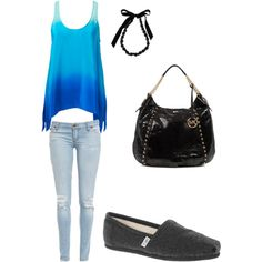 A fashion look from September 2012 featuring blue shirt, stretch jeans and black flat shoes. Teen Fashion 2014, Spring Fashion, Womens Fashion, Toms Ballet Flats, Toms Outfits, Toms Shoes Outlet, Cool Necklaces, Black Canvas, Girls Be Like