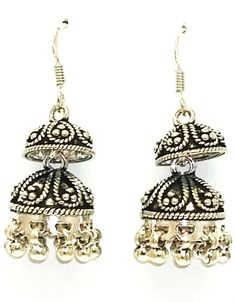 New Sterling Silver Earrings/Jhumkas 925 Pure Bis Hallmark Oxidized Handcrafted