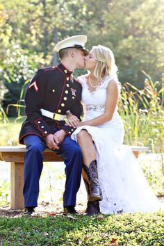 Marine Corps Wedding With Cowgirl #western #cowgirl #fashion At Eagle Ages we loves cowboy boots. You can find a great choice of second hands cowboy boots in our store https://eagleages.com/shoes/boots/women-boots/cowboy-boots.html