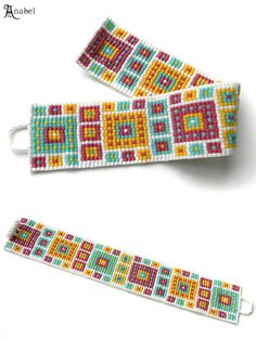 Beaded bracelet geometric design multicolor beaded by Native Beading Patterns, Beaded Bracelet Patterns, Bead Loom Patterns, Weaving Patterns, Bead Loom Bracelets, Woven Bracelets, Beads Jewelry, Art Perle, Friendship Bracelets Designs
