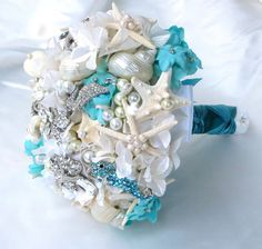 Tiffany Blue Wedding Bouquet Sea Shell Bridal by BoHoBridal,
