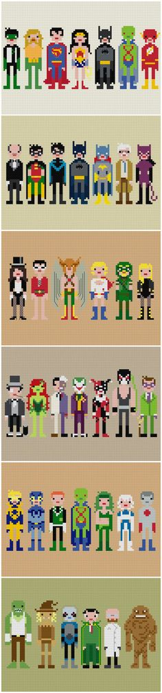Weelittlestitches contemporary cross stitch Justice League and Batman patterns {etsy.com/shop/weelittlestitches}