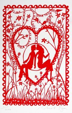 """Let your heart have a say; savor this day..."" Rob Ryan papercut"