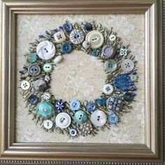 Antique Button Wreath with hand embroidery by warnANDweathered