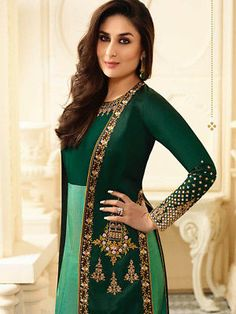 Kareena Kapoor Green Abaya Style Salwar Suit with Jacket Festive Fancy Collection Designer Anarkali Dresses, Pakistani Dresses, Indian Dresses, Indian Outfits, Western Outfits, Indian Sarees, Designer Dresses, Abaya Fashion, Indian Fashion