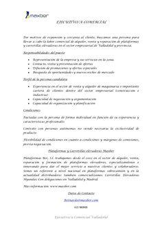 Ejecutivo/a comercial de plataformas y carretillas elevadoras para Valladolid y provincia.