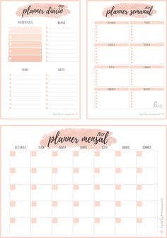 Inserts Planner 2017 para Download - Planner Diário, Planner Semanal e Planner Mensal.