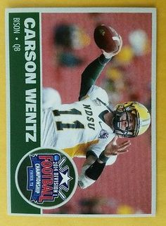 61e16d389 CARSON WENTZ RARE CUSTOM ROOKIE CARD NORTH DAKOTA STATE 2014 division 1  champion