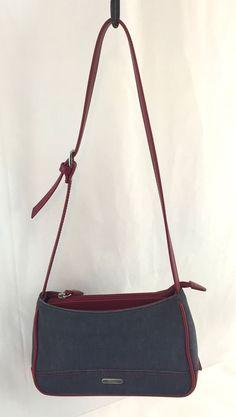 Womens Authentic St John S Bay Handbag Shoulder Purse Denim And Red Leather Stjohnsbay