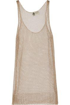 Lanvin|Metallic open-knit top|NET-A-PORTER.COM