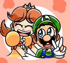 """ It's not supposed to be shipping, just friends! Mario Fan Art, Super Mario Art, Super Mario Bros Nintendo, Super Mario Brothers, Luigi And Daisy, Mario And Luigi, Daisy Tumblr, Creepypasta Anime, Super Princess Peach"