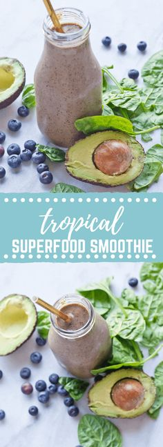 This Tropical Superfood Smoothie is so energizing! A blend of fresh spinach, blueberries, avocado, banana, and pineapple in one glass!