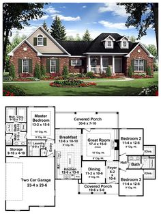 #FrenchCountry #HousePlan 59181 | This inviting country home includes all the features that you and your family have always dreamed of having. The well-appointed floor plan design makes use of every available space while providing many extras that you would expect to find in a much larger home. Total Living Area: 1800 sq. ft. Bedrooms: 3 Bathrooms: 2