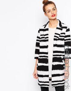 Girls On Film Petite Stripe Duster Coat