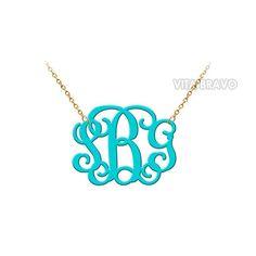 Monogram Necklace Acrylic Hand Made Custom Turquoise