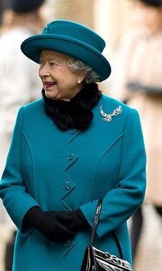 Queen Elizabeth II wearing her Diamond Jubliee brooch on Christmas Day 2012