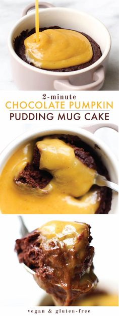 This vegan chocolate pumpkin microwave pudding cake is the ultimate fudgey but…