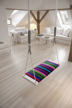"A large, relaxing swing / ""indoor hammock"" Interior And Exterior, Design Interior, Interior Designing, Interior Ideas, Exterior Design, Interior Decorating, Decoration Inspiration, Interior Inspiration, Dream Homes"